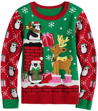 It's Our Time Girls 7-16 Christmas Penguin Sweater