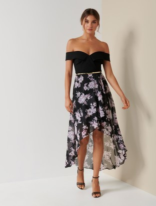 Forever New Season Off-Shoulder Two-in-One Dress - Midnight Bloom - 16