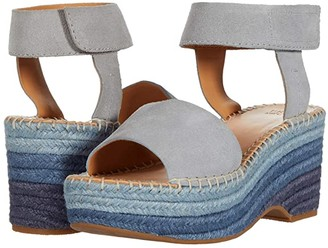 Frye Amber Espadrille Wedge (Ice Blue Suede) Women's Shoes