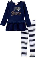 Juicy Couture I Heart Juicy Applique Ruffle Bottom Tunic & Striped Legging Set (Toddler Girls)