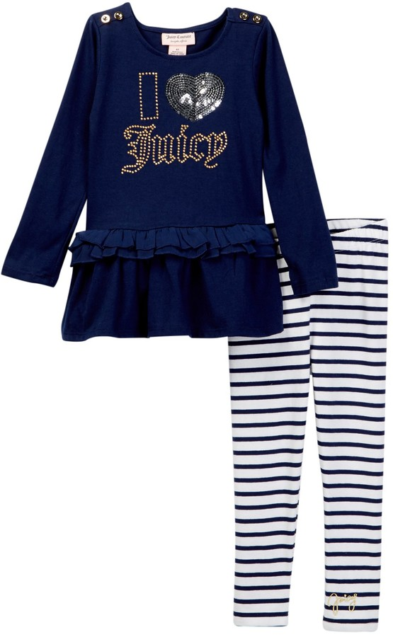 Juicy Couture I Heart Juicy Applique Ruffle Bottom Tunic & Striped Legging Set (Toddler Girls)