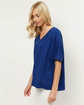 Jaeger Linen Oversized V-Neck T-Shirt