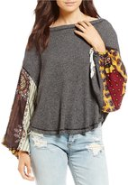 Free People Blossom Thermal Printed Balloon Sleeve Blouse