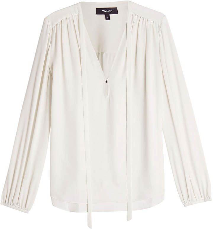 Theory Silk Blouse with Bow