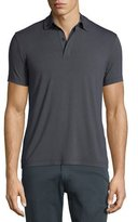 Armani Collezioni Double-Collar Short-Sleeve Polo Shirt, Charcoal