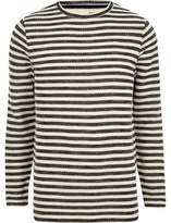 River Island Mens Cream stripe print slim fit long sleeve top