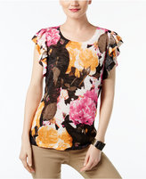 INC International Concepts Ruffled Short-Sleeve Sweater, Created for Macy's