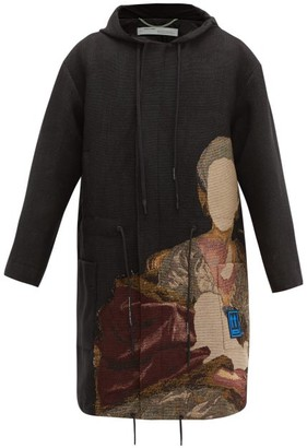Off-White Off White Embroidered Hooded Coat - Mens - Black Brown