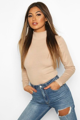 boohoo Rib Knit High Neck Long Sleeve Bodysuit