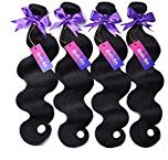 "Mornice Hair 4 Bundles 100% Unprocessed 8A Brazilian Remy Virgin Hair Weft Weave Real Body Wave Human Hair Extensions Natural Black 400G (20""22""24""24"")"