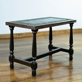 Novica Colonial Foliage Traditional Dark Brown Highly Polished Modena Wood with Hand Tooled Leather Artisan Accent Coffee Table (Peru)