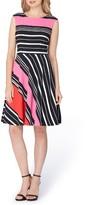 Tahari Women's Stripe Fit & Flare Dress