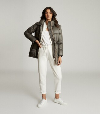 Reiss Lilah - Mid Length Puffer Jacket in Khaki