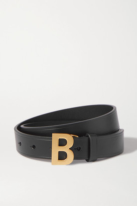 Balenciaga B Leather Waist Belt - Black