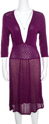 Catherine Malandrino Grape Purple Perforated Knit Plunge Neck Dress M