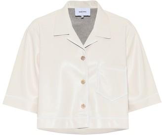 Nanushka Rhett cropped faux-leather shirt