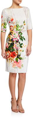 Rickie Freeman For Teri Jon Boarder Floral Print Elbow-Sleeve Scuba Dress