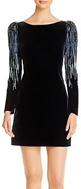 Elie Tahari Chantal Embellished Velvet Puff-Sleeve Dress