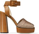 Jimmy Choo BAJA/PF 125 Ballet-Pink Satin and Tan Vachetta Leather Platform Sandals