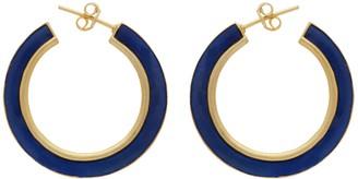 Carousel Jewels Gold & Blue Enamel Large Hoops