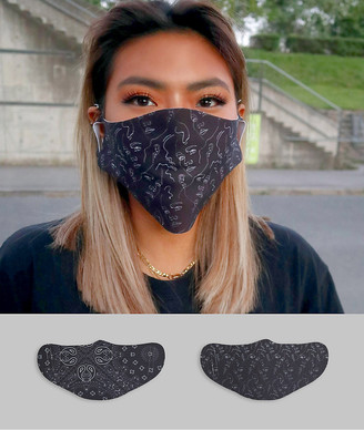 ASOS DESIGN unisex 2 pack face covering in bandana and linear print