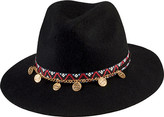 San Diego Hat Company Women's Wool Fedora with Band/Gold Coin Trim WFH3547