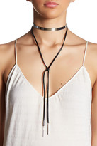 Cara Accessories Polished Band Faux Leather Tie Choker Necklace