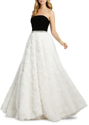 Mac Duggal Strapless Lace Fray Ball Gown