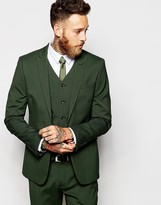 Asos Skinny Suit Jacket In Green