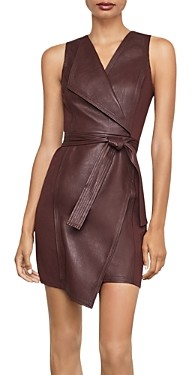 BCBGMAXAZRIA Layla Asymmetric Faux Leather & Ponte Dress