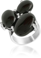 Del Gatto Diamond and Onyx Three-stone 18K Gold Ring