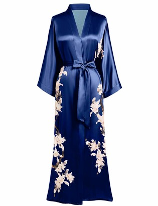 BABEYOND Kimono Dressing Gown Floral Printed Kimono Robe Long Satin Kimono Dress Cover Up for Women Wedding Pyjamas Party 135cm/53inches (Green)