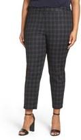 Sejour Plaid Stretch Cotton Blend Ankle Pants (Plus Size)