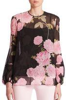 Giambattista Valli Balloon Sleeve Floral-Print Silk Blouse