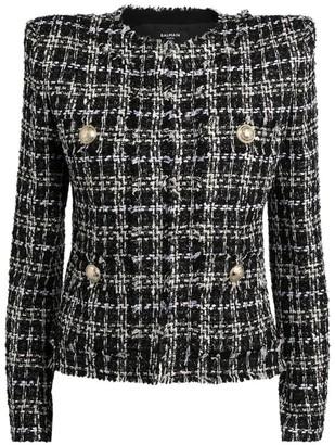 Balmain Collarless Lurex Tweed Jacket