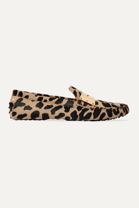 Tod's Gommino Embellished Leopard-print Calf-hair Loafers - Leopard print