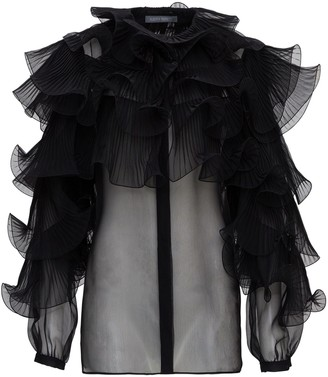 Alberta Ferretti Sheer Ruffled Blouse