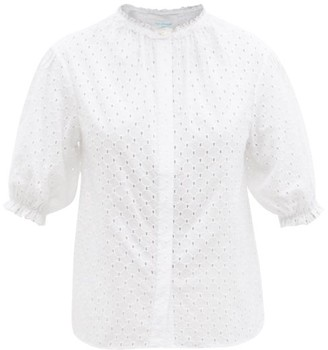 Loup Charmant Pico Ruffled Cotton-eyelet Blouse - White