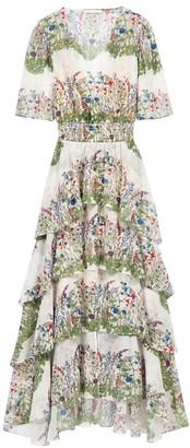 Maje Raffle Floral Midi Dress