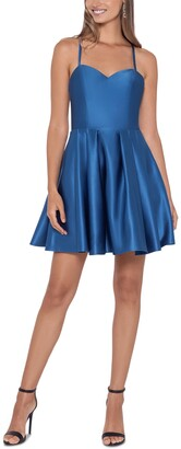 Blondie Nites Juniors' Strappy-Back Fit & Flare Dress