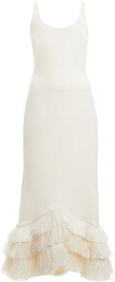David Koma Raffia-Hem Crepe Midi Dress