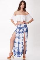 Blue Life 2-Slit Skirt in Blue Fireworks