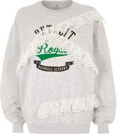 River Island Womens Grey 'detroit' print lace trims sweatshirt