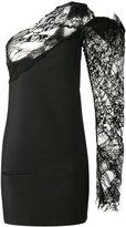 Saint Laurent one shoulder asymmetric dress - women - Silk/Polyamide/Mohair/Wool - 36