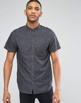 Pull&Bear Denim Shirt In Washed Black In Regular Fit