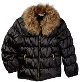 Juicy Couture Quilted Puffer Faux Fur Trim Jacket (Toddler Girls)