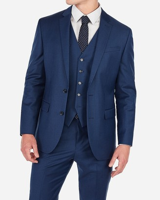 Express Classic Blue Wool-Blend Stretch Suit Jacket
