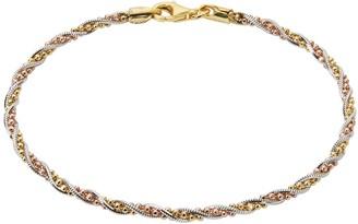 Primavera 24k Tri-Tone Gold Over Sterling Silver Beaded Twist Chain Bracelet