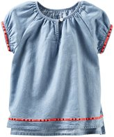 Osh Kosh Oshkosh Girls S/s Embroidered Chambray Top; 6m;