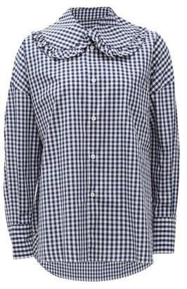 COMME DES GARÇONS GIRL Ruffled-collar Gingham Cotton-poplin Shirt - Blue White
